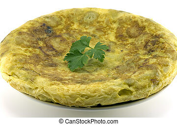 Spanish omelette with potatoes, parsley leaf gift auction, white background