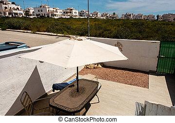 spanish patio in summer