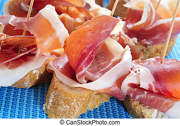 spanish pincho de jamon, spanish ham served on bread