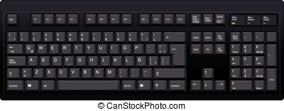 Spanish qwerty LA computer black keyboard - Vector...