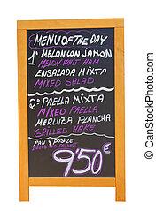 Spanish restaurant menu board