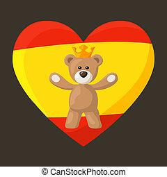 Spanish Royal Teddy Bear - Teddy Bear with crown and heart ...