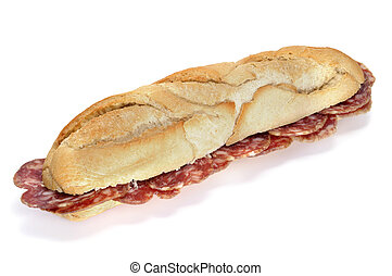 spanish salami sandwich isolated on a white background