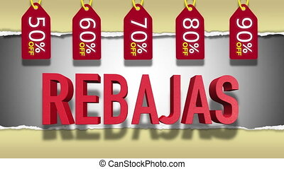 Spanish Sale 3D Looping Animation - Rebajas Red Text :...