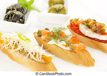 Spanish sandwiches with seafood,