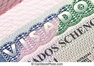 Spanish Schengen visa - Macro shot of Spanish Schengen visa...