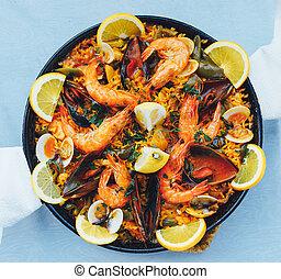 spanish seafood paella, top view