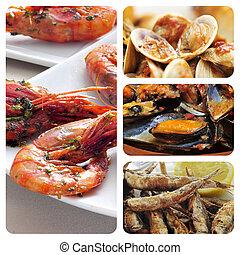 spanish seafood tapas collage