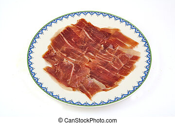 Spanish serrano ham on white background.