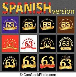 Spanish set of number sixty-three (63 years)