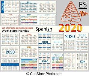 Spanish set of pocket calendars for 2020