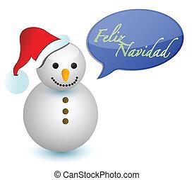 Spanish snowman merry christmas