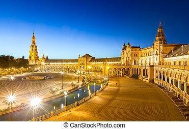 espana Plaza in Sevilla Spain at dusk