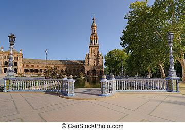 Spanish Square in Sevilla, The Plaza de España, Spain