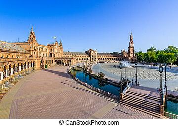 Spanish Square in Sevilla, The Plaza de Espana, Spain