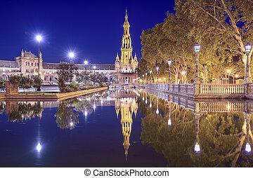 Seville, Spain at Spanish Square (Plaza de Espana).