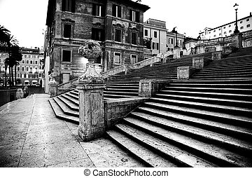 Spanish square with Spanish Steps  in Rome Italy
