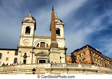 Spanish Steps and church of Trinita dei Monti in Rome, Italy