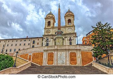 Spanish Steps and the Trinita dei Monti church in Rome,...