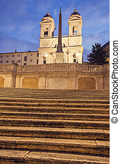 Spanish Steps and Trinita dei Monti Church in Rome. Rome,...