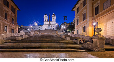Spanish Steps and Trinita del Monti Church in the Morning,...