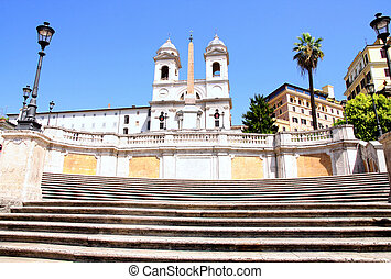 Spanish Steps in Rome Italy - Spanish Steps and church of...