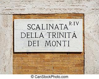 Spanish Steps Sign Scalinata della Trinita del Monti Rome...