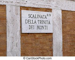 Spanish Steps Sign Scalinata della Trinita del Monti Rome -...