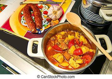 Spanish stew with chorizo sausage