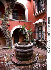 Spanish Style Courtyard Well Morelia Mexico - Spanish Style...