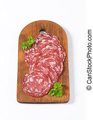 Spanish summer sausage slices