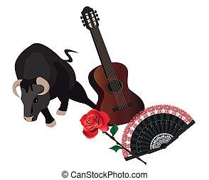 Spanish Symbols - Illustration with a bull, spanish guitar,...