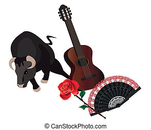 Illustration with a bull, spanish guitar, fan and rose