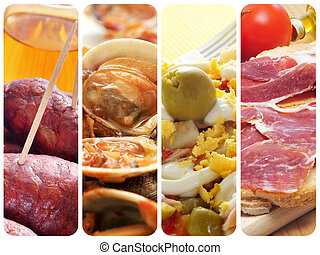 spanish tapas and dishes collage - a collage of four...