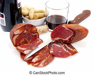 Spanish tapas - assorted spanish tapas, with ham, pork, wine...