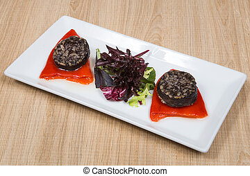 Morcilla de Burgos. - Spanish Tapas. Blood and rice sausage...