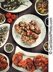 Spanish tapas food, healthy mediterranean cold buffet