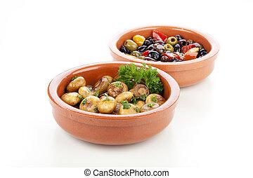 Spanish Tapas, Mushrooms and Olives