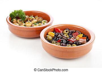 Spanish Tapas, Olives and Mushrooms