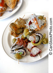 Spanish tapas on a plate