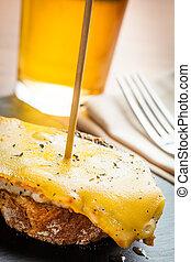 Spanish tapas - Pork meat with cheese tapas, ready to eat.