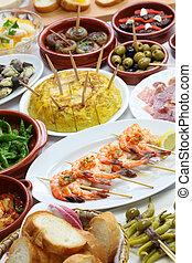 spanish tapas variety - spanish tapas bar food variety