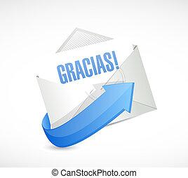 spanish thanks letter sign illustration
