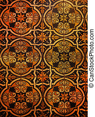 Spanish tile with beautiful figured pattern, multicolored