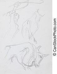 spanish toreador and bulls, pencil sketch - hand drawn...