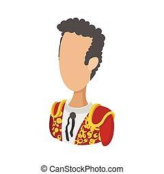 Spanish torero icon, cartoon style