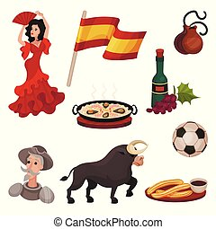 Spanish traditional symbols and objects. Vector illustration on white background.