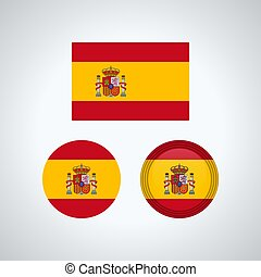 Spanish trio flags, vector illustration