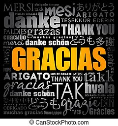 spanish), usted, palabra, nube, (thank, gracias
