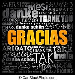 spanish), vous, mot, nuage, (thank, gracias